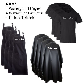 Branding Kit #3: 4 Waterproof Capes/4 Waterproof Aprons/4 Shirts